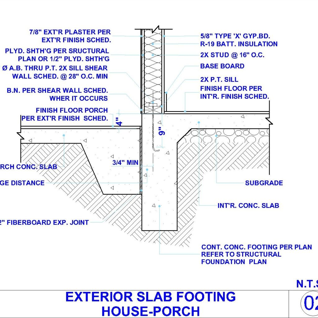 Exterior concert slab footing and exterior wall detail at porch cad files dwg files plans for Exterior wall construction detail