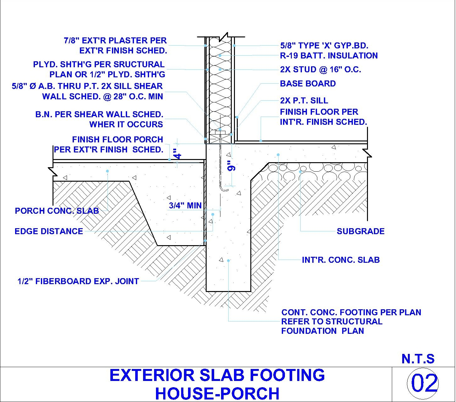 EXTERIOR CONCERT SLAB FOOTING AND EXTERIOR WALL DETAIL AT
