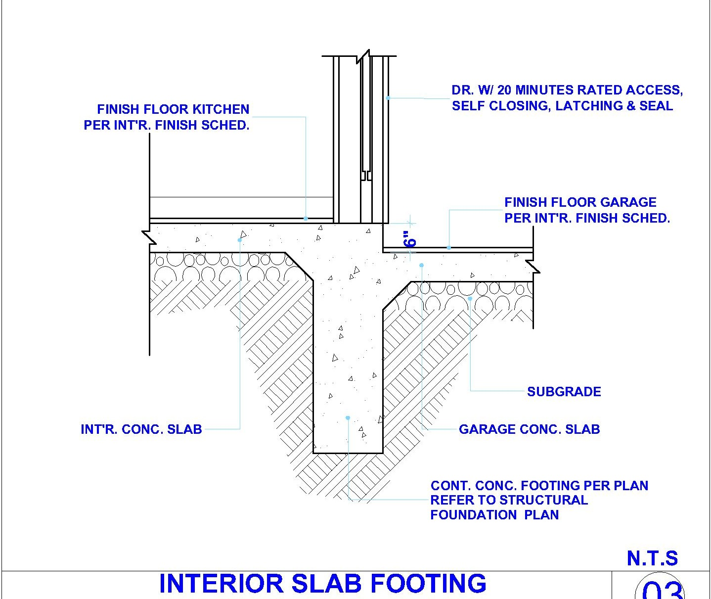 Interior concert slab footing and exterior wall detail for Garage foundation plans
