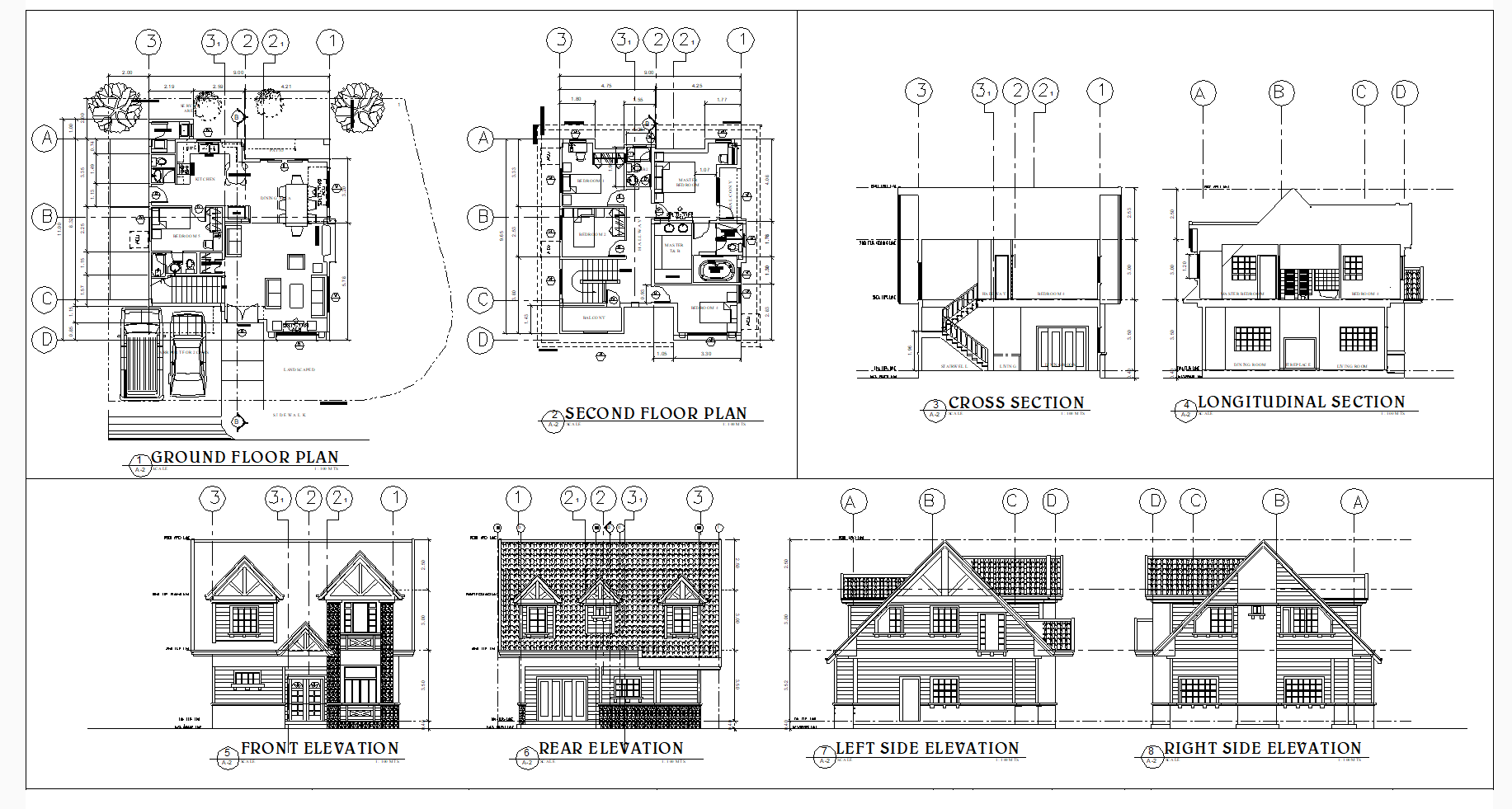Two Storey Residence 160 Sqm American Theme Cad Files Dwg Files Plans And Details