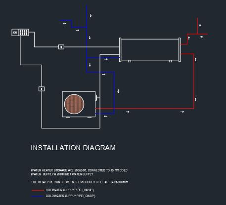 heat pump + geyser installation diagram - cad files, dwg files, plans and  details