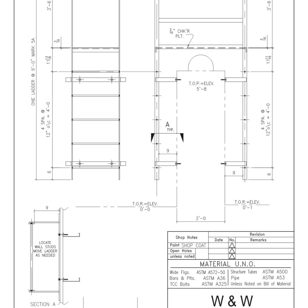 STEEL ROOF ACCESS LADDER - CAD Files, DWG files, Plans and Details